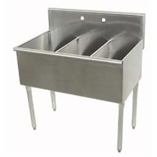 400 Series Stainless Steel Square Corner Scullery Budget Sink with 3 Compartment.21X36 36 inch O.A.