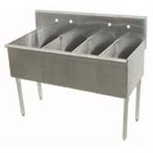 400 Series Stainless Steel Square Corner Scullery Budget Sink with 4 Compartment.21x48 48 inch O.A.