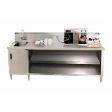 Stainless Steel Enclosed Base Beverage Table with Right Side Sink