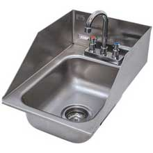 One Compartment Hand Use Drop-in Sink Include Tapered Splash on Rear and Both Sides 13 x 19 in DI-1-5SP