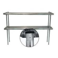 Stainless Steel Shelving Double Deck With Adjustable Chrome Post
