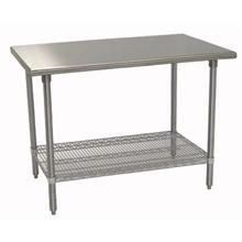 Economy Stainless Work Table Flat Top Stainless Leg Feet and Adjustable Undershelf