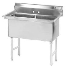 Stainless Steel Two Compartment Fabricated Sink without Drainboard