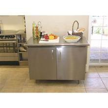 Stainless Enclosed Base Chef Table 5 in Back Splash Hinged Door Single Mid-Shelf 48 x 24 x 35 in