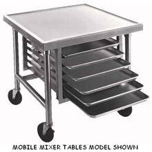 Galvanized Mobile Mixer Table with Tray Slides and Caster