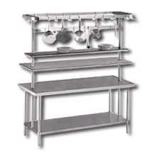 Pot Rack Table Mounted Center Includes Adjustable Utensil Rack