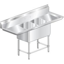 Delux Two Compartment NSF Sink 21 inch wide