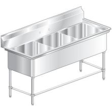 Aerospec Three Compartment NSF Sink with 24 x 18 inch wide