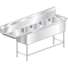 Aero Aerospec Four Compartment NSF Sink - 14 Gauge 20 inch wide 2F4-2020-20L