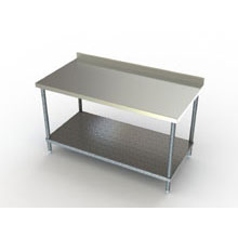 Premium 2 3/4 inch Backsplash Galvanized Undershelf Work Table