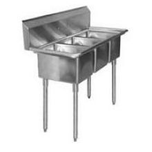 Aero 18 Gauge 304 Stainless Three Compartment NSF Sink 23.5 x 57 x 24 inch
