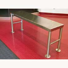 Aero Gowning Bench 16 ga. 304 Stainless Steel 12 x 36 inch