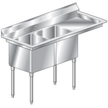 Aero Economy Two Compartment NSF Sink - 16 Gauge 21 inch wide MF2-2116-24R
