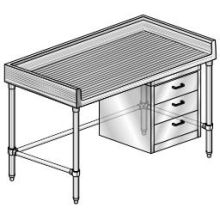 Stainless Steel Backsplash Maple Top Work Table With Three Tier Drawer - Stainless steel work table with drawers
