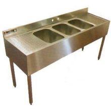 Aero 304 Stainless Three Compartment Underbar Sink 18 x 72 x 30 inch