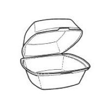 Pactiv White Medium Square Sandwich Container 6 x 6 x 3 inch