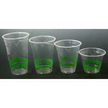 Clear Corn Cold Cup with Green Stripe
