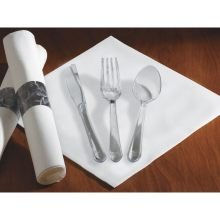 Linen Like CaterWrap Dinner Napkin and Heavyweight Clear Cutlery