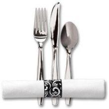 Linen Like Interlocking Band with Metallic Cutlery