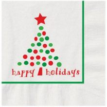 Holiday Dots Printed Design Beverage Napkin