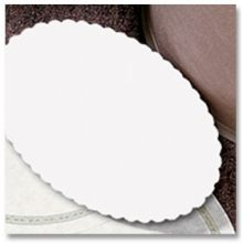 900-LD20 Specialty Lodging White Oval Scalloped Edge Guest Room Amenities Basket Liner 6 x 9 in
