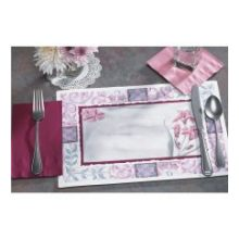 Fashion Casual Floral Border Straight Edge Die Cut Printed Placemat
