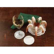 Specialty Sanitary Linen Like White Scalloped Non Woven Coaster