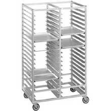 Double Section Stainless Steel Cafeteria Tray Rack with 6 inch Space