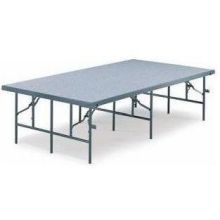 Midwest Fixed Height Carpet Gray Deck Portable Stage 4 x 8 feet