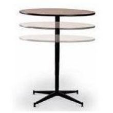 Midwest Brown Edge Molding Adjustable Tri Height Cocktail Table 36 Inch  Diameter X 30 To