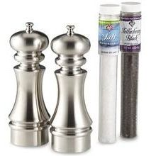 William Bounds Brushed Metal Knight Dual Mill Set with Tube Clear 7 inch