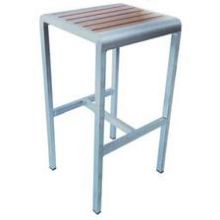 Sid Oak with Brushed Aluminum Edge Outdoor Indoor Backless Barstool