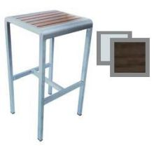 Sid Wenge with Brushed Aluminum Edge Outdoor Indoor Backless Barstool