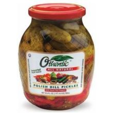 Polish Dill Pickles with Sweet Red Peppers