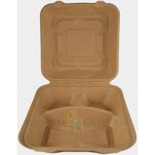 Three Comportment Unbleached Fiber Take Out Container