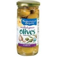 Mediterranean Organic Stuffed Garlic Green Olives 8.5 Ounce