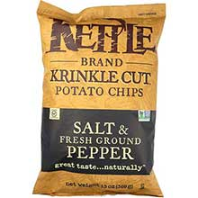 Kettle Foods Krinkle Cut Salt and Fresh Ground Pepper Potato Chips 14 Ounce