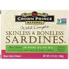 Crown Prince Skinless and Boneless Sardines in Olive Oil 3.75 Ounce
