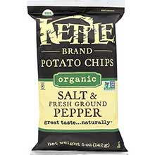 Kettle Foods Organic Sea Salt and Black Pepper Potato Chips 5 Ounce