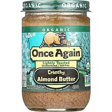 Organic Lightly Toasted Unsweetened and Salt Free Crunchy Almond Butter