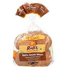 Rudis Organic 100 Percent Whole Wheat Hamburger Bun