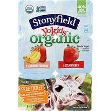 Stonyfield Farm YoKid Organic Strawberry and Banilla Yogurt 4 Ounce