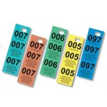 1 to 500 Numbers Coat Checks Box, Colors Light Blue, Dark Blue, Salmon, Green and Yellow