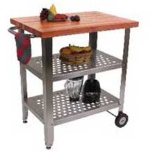 Cucina Avanti Cream Finish Cherry Top Kitchen Cart with Two Shelves 30 x 20 x 1.5 inch