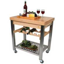 Varnique Finish Maple Top Cucina D Vino Cart with Wine Rack