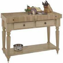 Cucina Americana Rustica Worktable 24 x 30 x 4in. With Maple End Grain Top With Wood Shelf