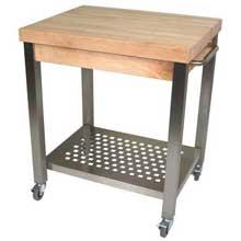Maple Block Cream Finish Cucina Technica Cart with Drawer 30 x 24 x 2 1/4 inch