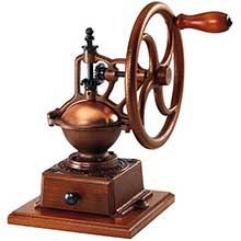 Beechwood Brown Manual Coffee Grinder with Wheel Handle