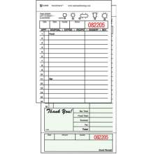 National Checking Company Carbon Backed Guest Check Board - 2 Part Green 16 Line 4.20 x 8.25 inch