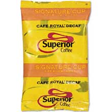 Superior Signature Cup Cafe Royal Decaffeinated Ground Coffee - 2.5 oz. pack